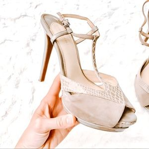 Gianni Bini Snakeskin and Suede T-strap Stiletto
